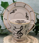 Music Notes Catherine Cup & Saucer w/Text