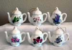 Assorted Floral Teapot Ornament Set of 6