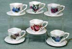 Assorted Floral Cup & Saucer Ornament Set of 6