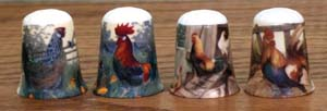 Hen & Rooster Thimble - 4 Assorted